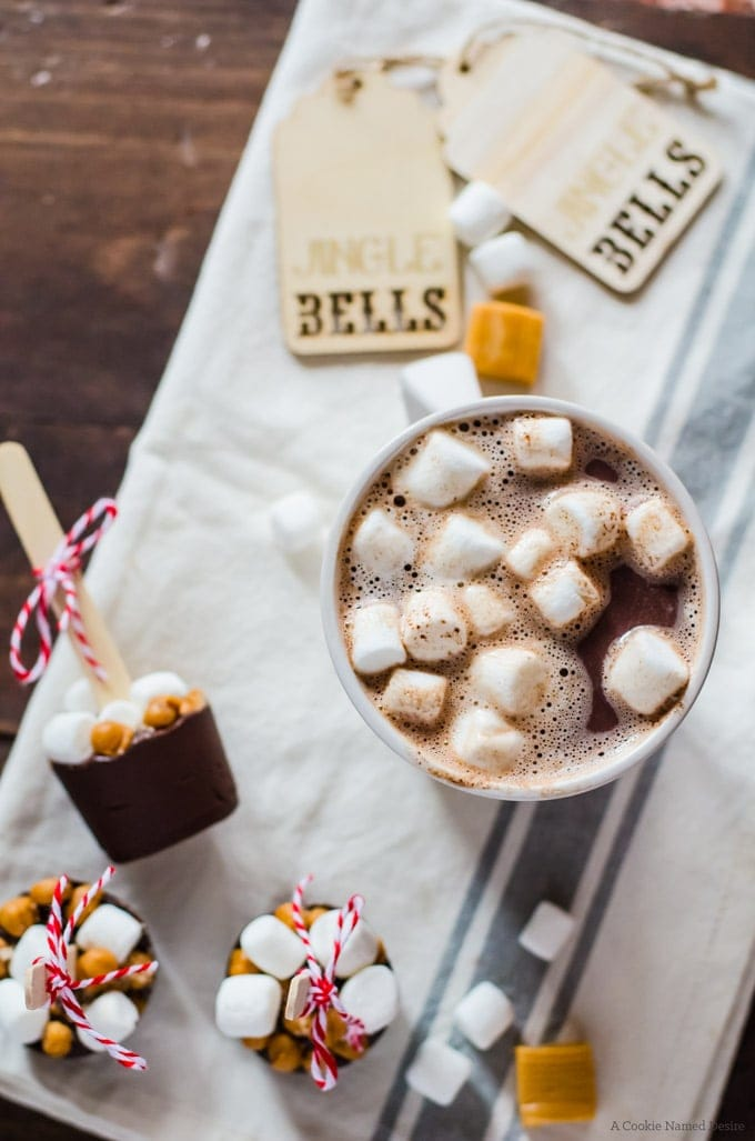 Mocha salted caramel hot chocolate on a stick - a great last minute gift for anyone this holiday!