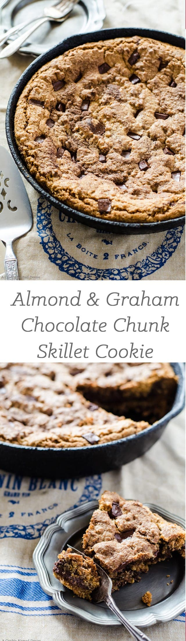 this skillet cookie is crispy and buttery on the outside and chewy and chocolaty on the inside