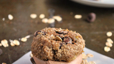 Banana Bread Cookie Sandwiches with Chocolate Peanut Butter Filling