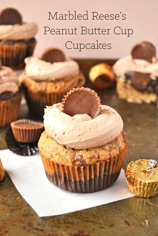 marbled reeses peanut butter cupcakes