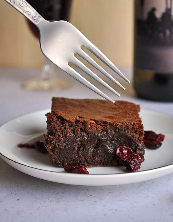 Rich and decadent Red Wine Brownies with Drunken Cranberries