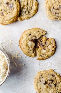 Broken coconut chocolate chip cookies
