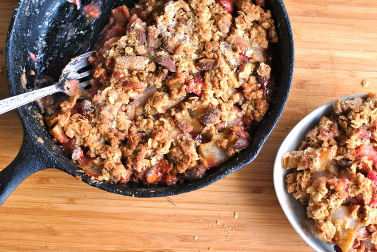 There is nothing like a rhubarb pear almond crisp topped with ice cream on a summer night #rhubarb #crisp