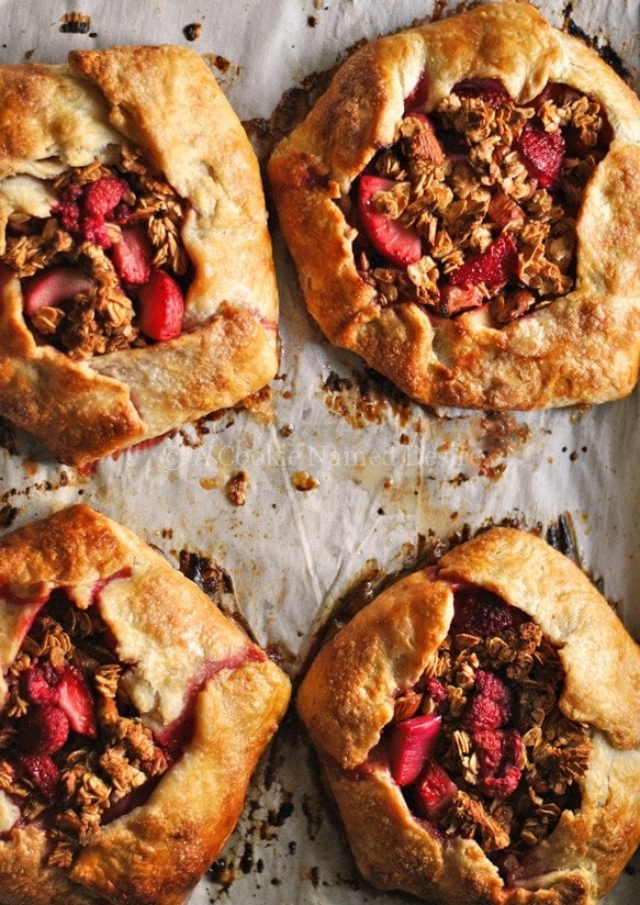 berry rhubarb galette