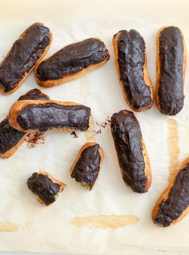 Dark Chocolate Green Tea Eclairs