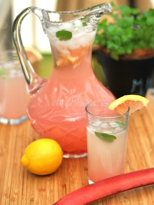 An incredibly refreshing rhubarb grapefruit lemonade