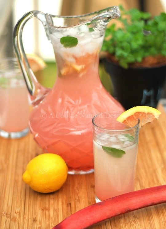 An incredibly refreshing rhubarb grapefruit lemonade