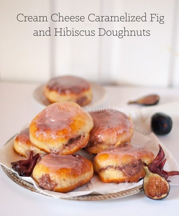 caramelized fig and hibiscus doughnuts