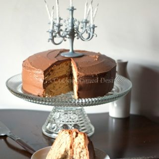 banana peanut butter cake with creamy nutella frosting