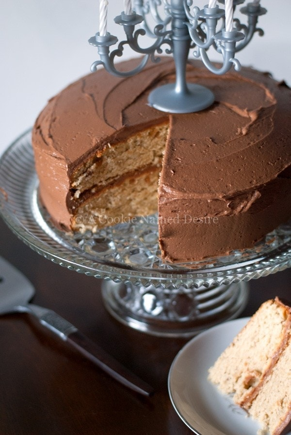 peanut butter banana cake with creamy nutella frosting