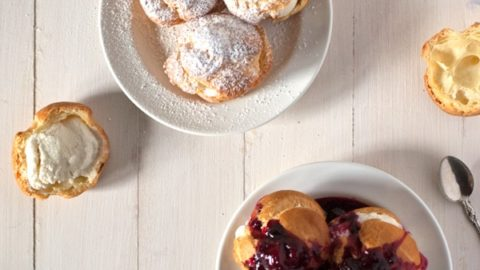 Profiteroles with Bourbon Ice Cream and Berry Coulis