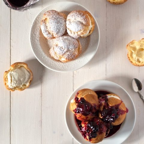 profiteroles with bourbon ice cream and berry clouis