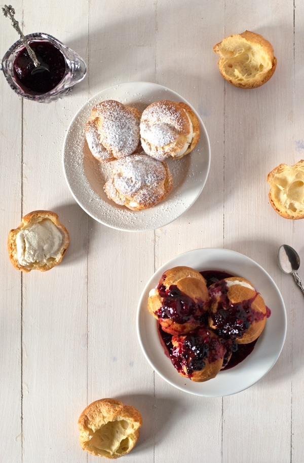 Profiteroles with Bourbon Ice Cream and Berry Coulis | @cookiedesire