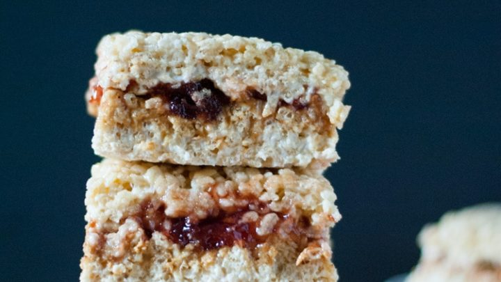 Peanut Butter and Jelly Rice Krispie Treats