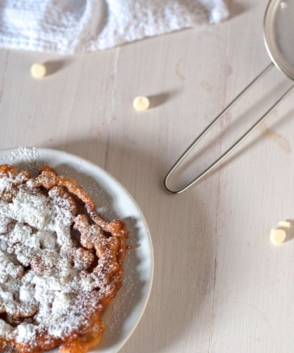 funnel cake recipe with lemon white chocolate drizzle