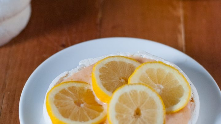 Upside Down Lemon Meringue Pie Or Lemon Curd Pavlova with Strawberry Bits