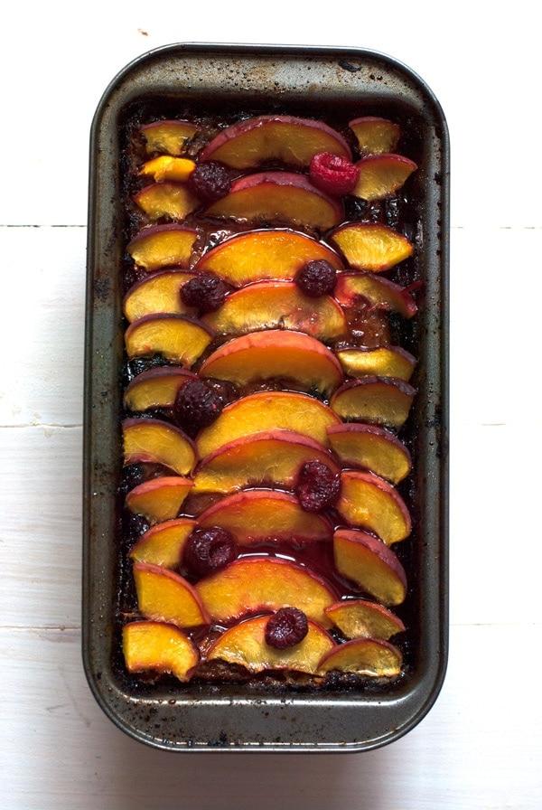raspberry peach clafoutis