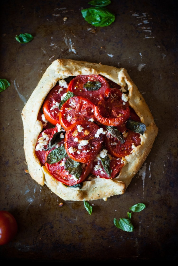 Tomato Galette with Fresh Basil and Feta | @cookiedesire