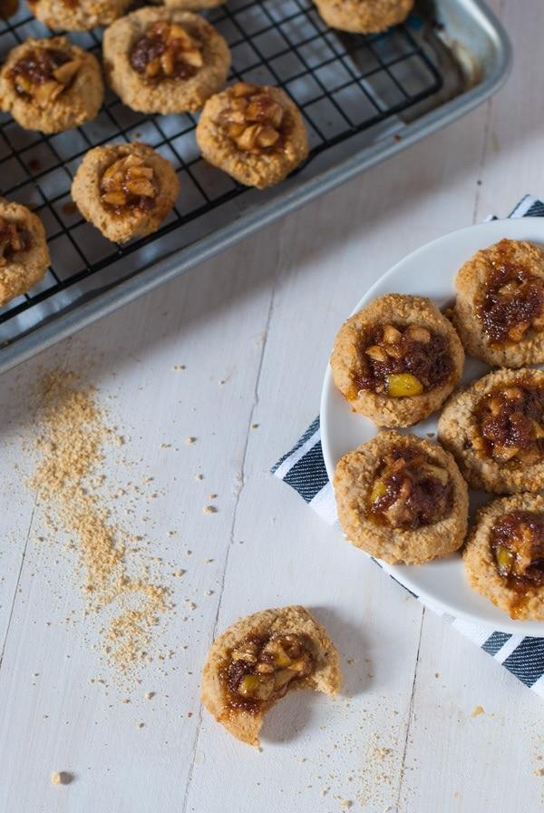 Apple Pie Thumbprint Cookies with Salted Dark Caramel