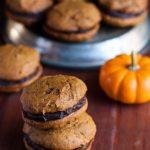 Pumpkin Whoopie Pies with Caramel & Boozy Ganache