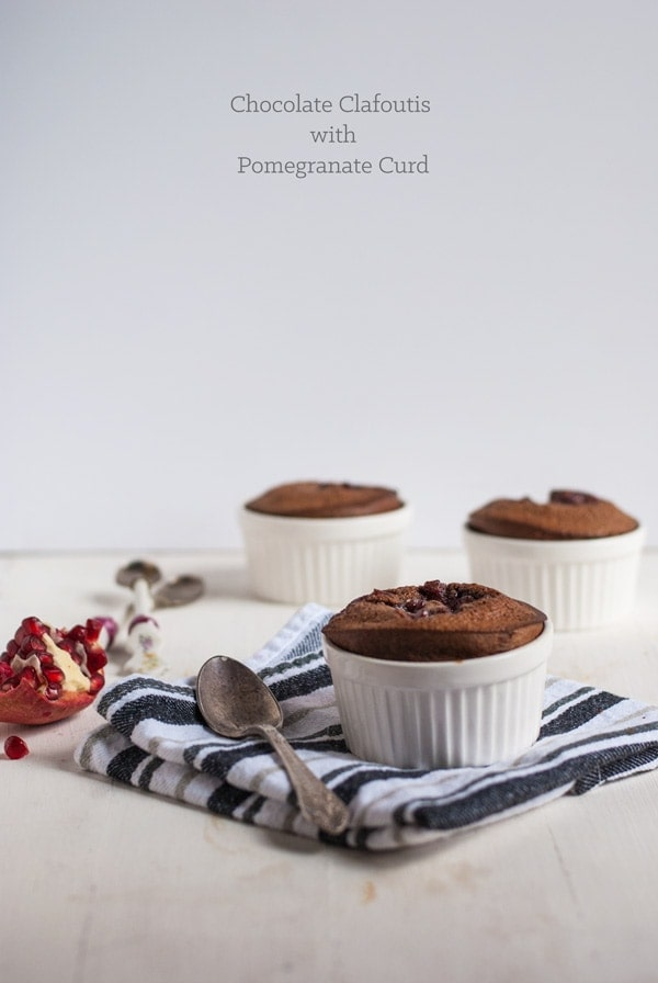 Chocolate clafoutis with pomegranate curd recipe
