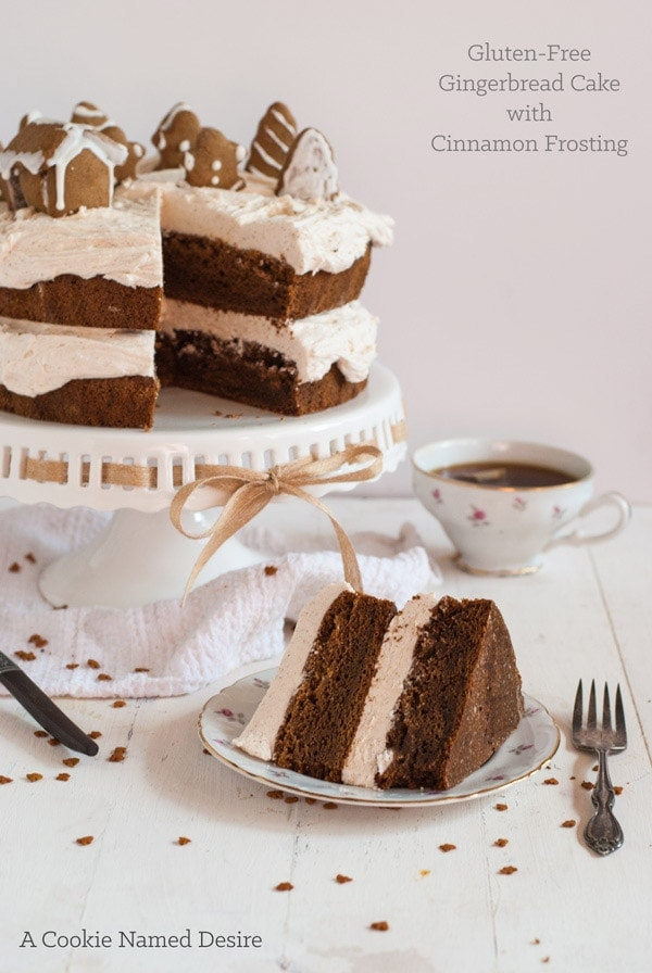 slice of gingerbread layer cake on plate with fork