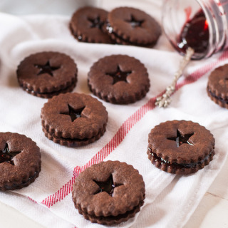 Chocolate Linzers with Berry Wine Jam- perfect cookies to gift!