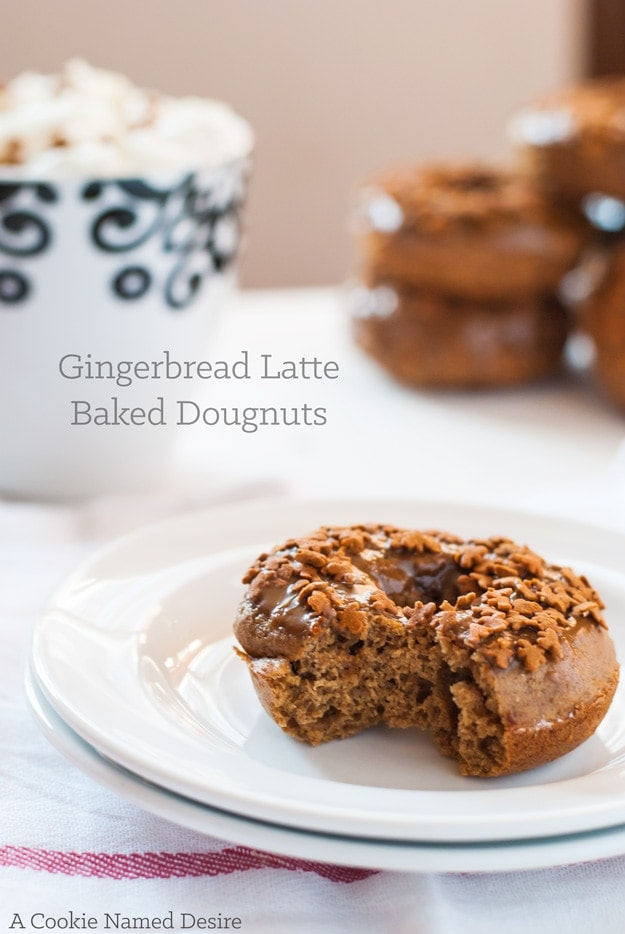 A warmly spied healthy baked gingerbread latte doughnut. A perfect healthy doughnut recipe for enjoying the holidays