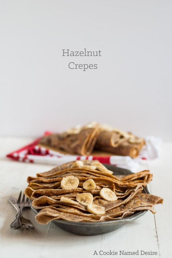 Simple cinnamon sugar hazelnut crepes. Lightly sweet and nutty. These hazelnut crepes are perfect for stuffing with chocolate and fruit.