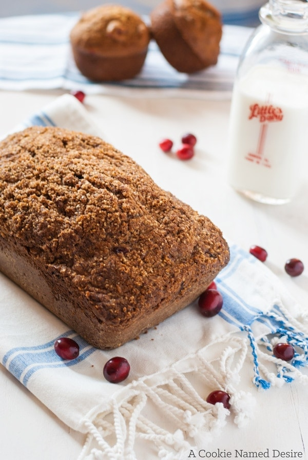 A warm hazelnut pear and cranberry bread is an easy quick bread you will love toasted with a bit of butter in the morning.