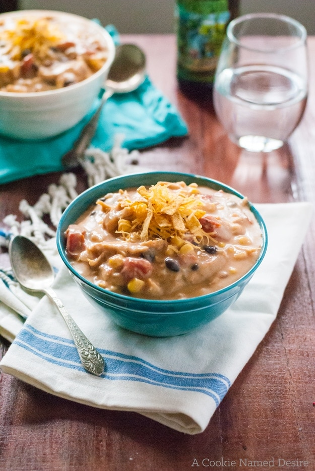 This taco soup is light on the calories, but big on flavor!