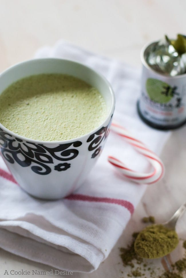 A ridiculously decadent salted matcha white hot chocolate to warm you up this winter!