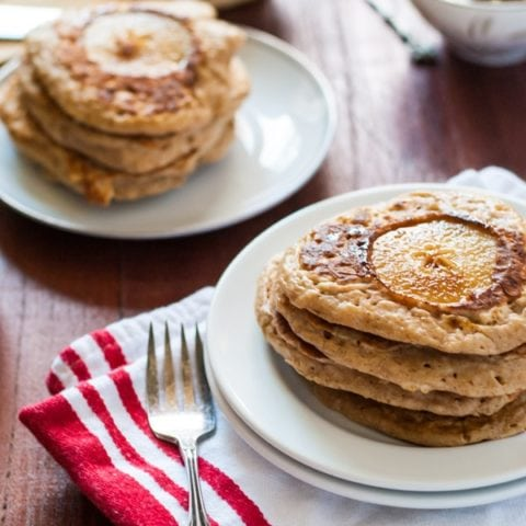 These simple brown butter pear spiced pancakes are delicious with maple syrup or a generous helping of salted caramel.