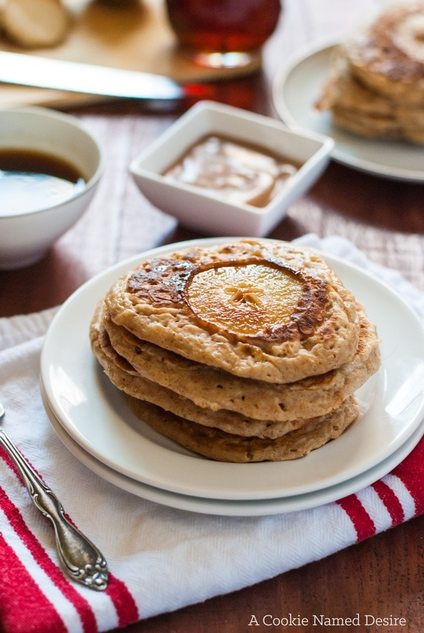 These simple brown butter pear spiced pancakes are delicious with ...