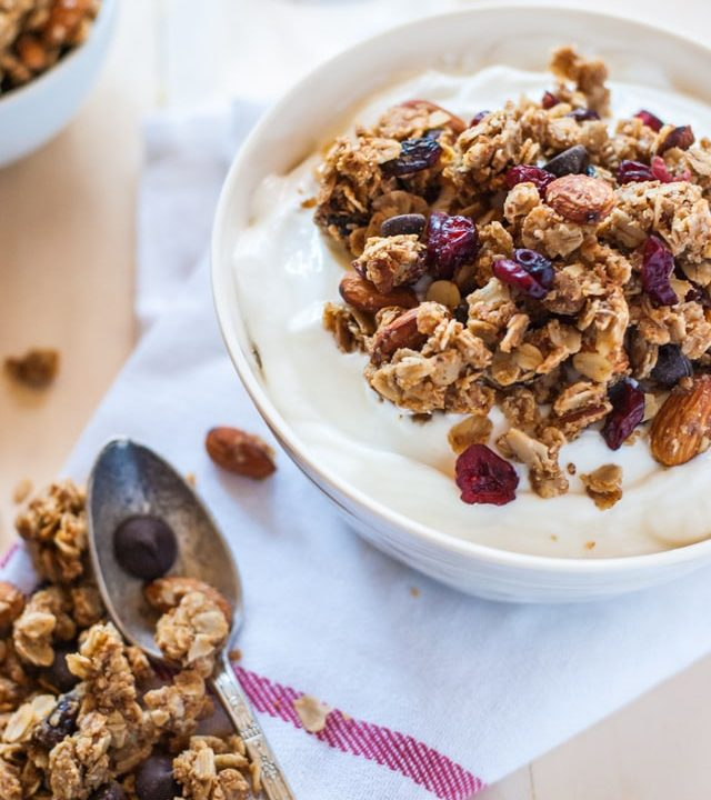 A delicious almond butter and jelly granola perfect for snacking