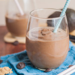 A creamy, rich avocado chocolate peanut butter smoothie that is healthy but tastes indulgent.
