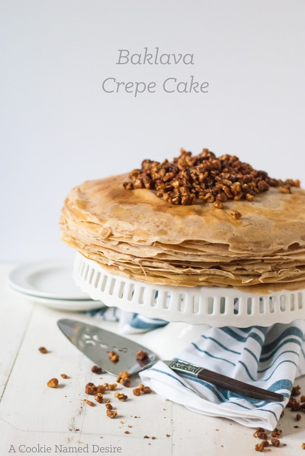 This baklava crepe cake is a unique take on my  Greek dessert