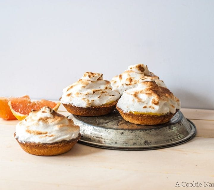 Grapefruit tart with ginger cardamom meringue
