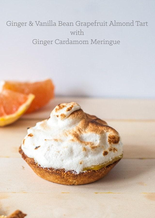 Ginger & Vanilla Bean Grapefruit Almond Tart with Ginger Cardamom Meringue