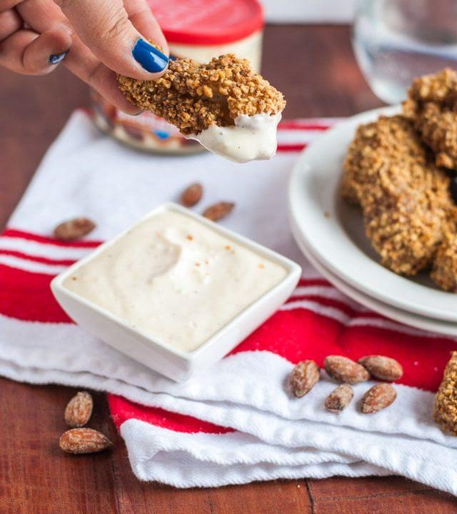 Skinny smokehouse almond chicken wings and garlic sauce