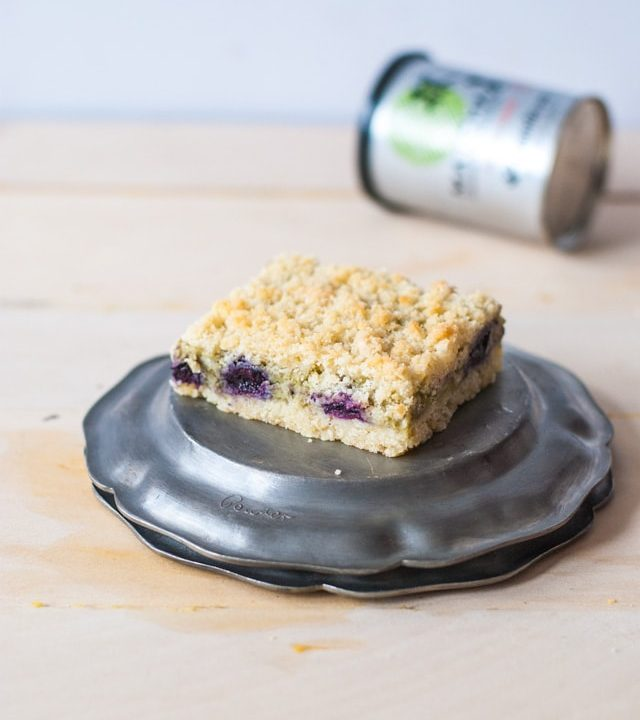 Lemon Crumb Bars with Matcha Blueberry Cheesecake Filling
