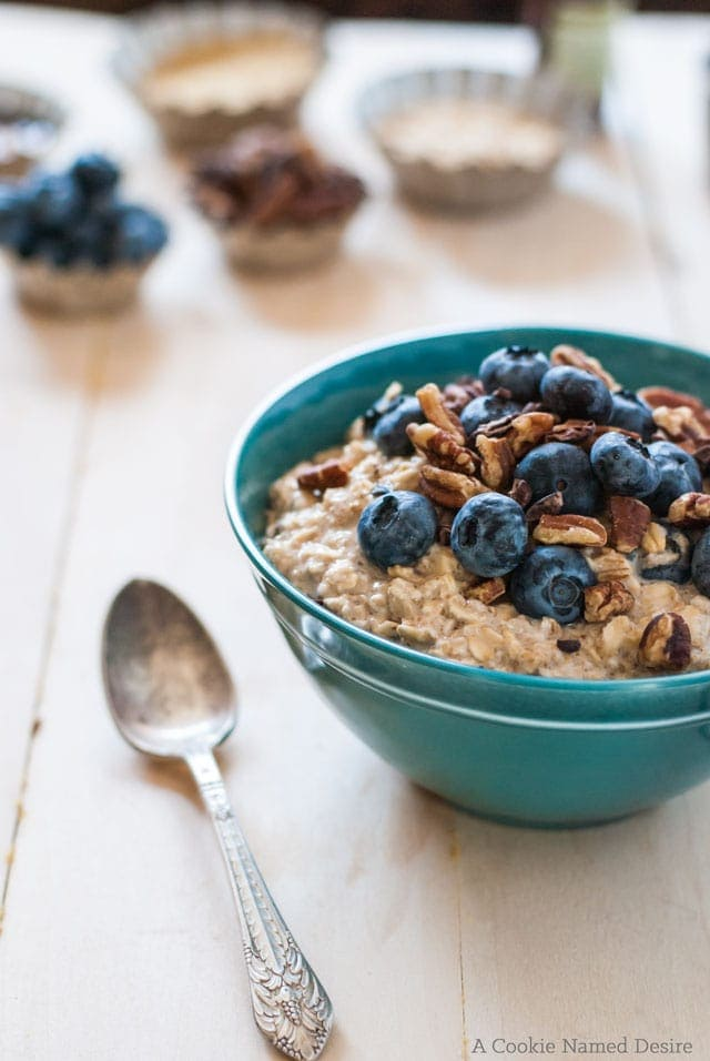 Blueberry pancake overnight oats make an easy breakfast option