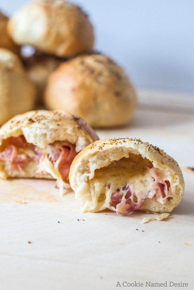 Ham & Alehouse Cheddar Stuffed Bagel Rolls