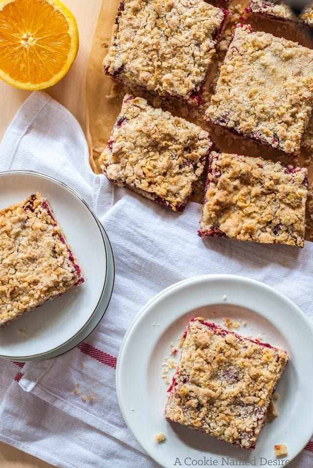 Cranberry orange crumb bars. I cannot get enough of these!