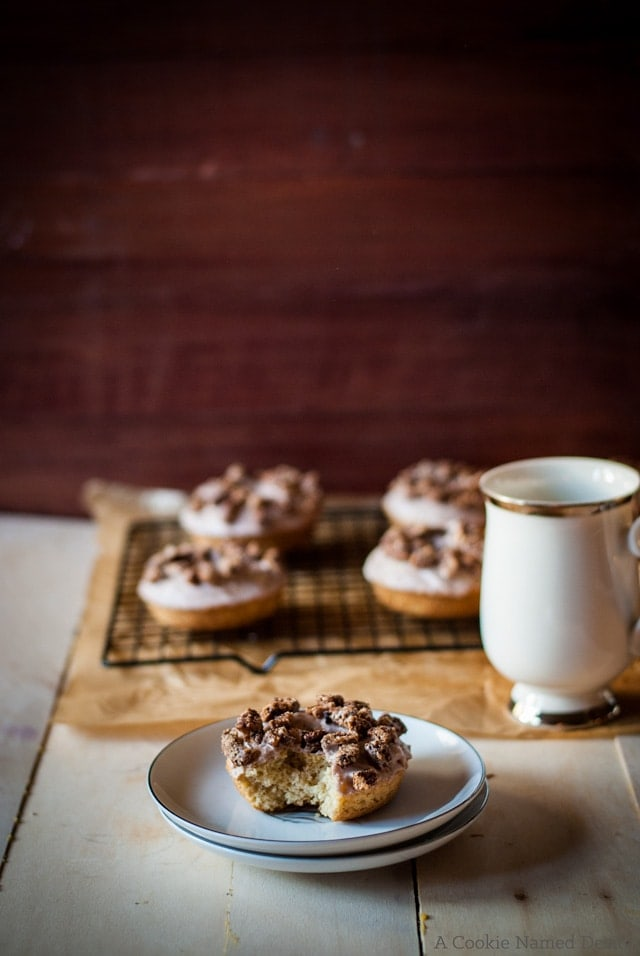 Brown butter cinnamon doughnuts with candied pecans