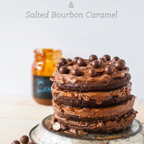 Brownie cake with chocolate malt frosting and caramel sauce