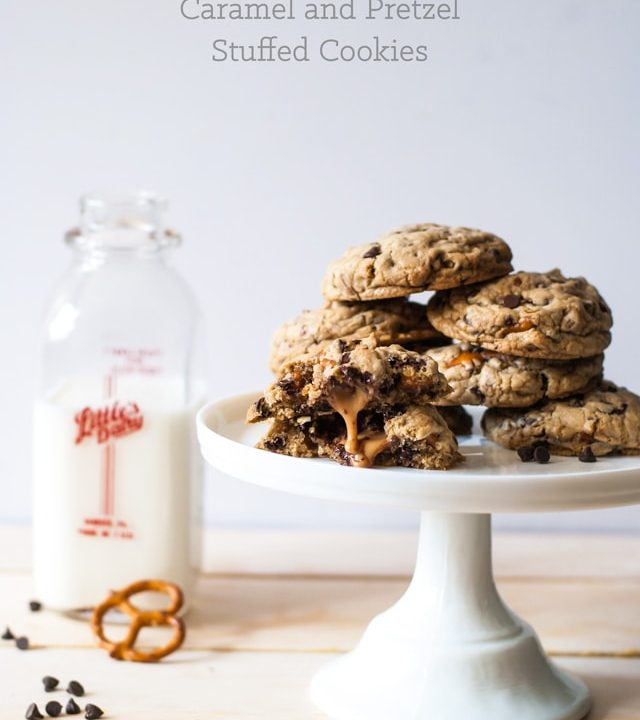 beer and pretzel caramel cookies