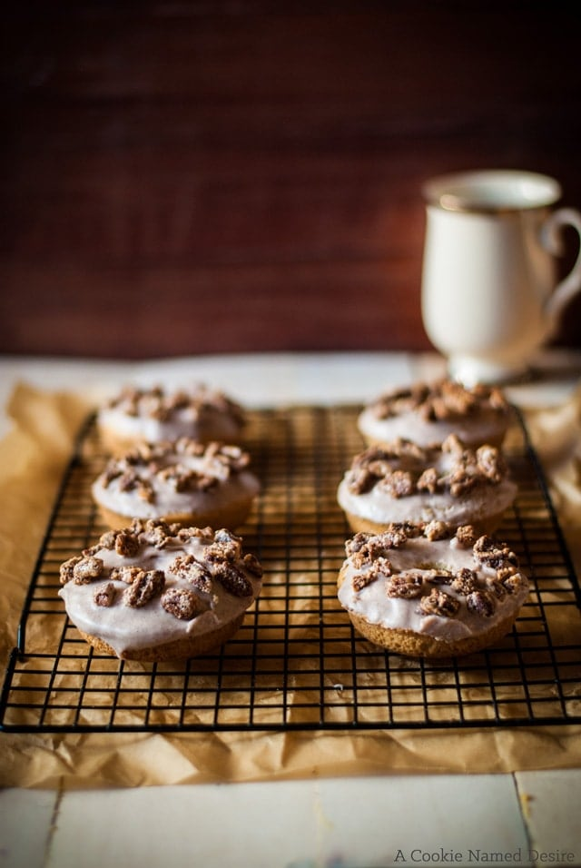 triple cinnamon brown butter doughnuts with cinnamon pecans