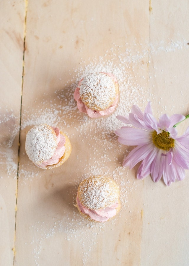 Mini Profiteroles with Strawberry Cream