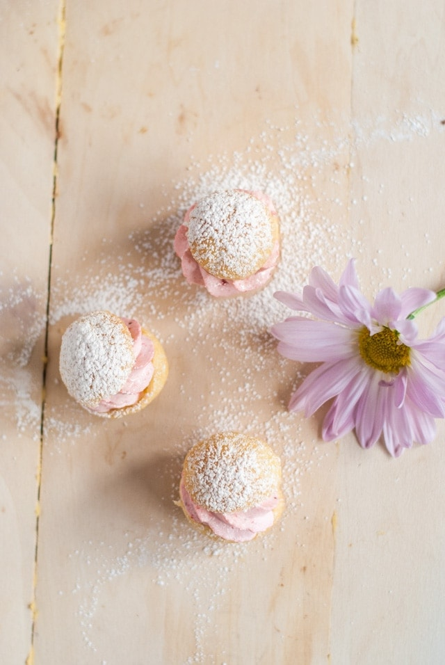Bite size profiteroles with strawberry cream